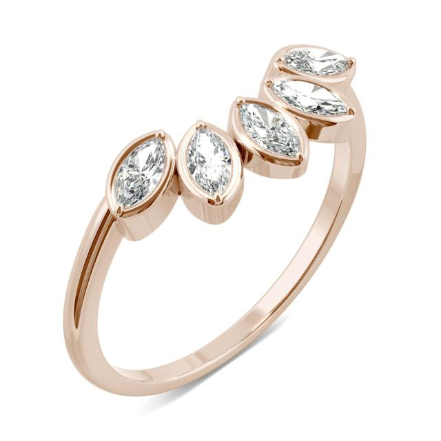 0.35 CTW DEW Marquise Forever One Moissanite Curved Petal Ring in 14K Rose Gold