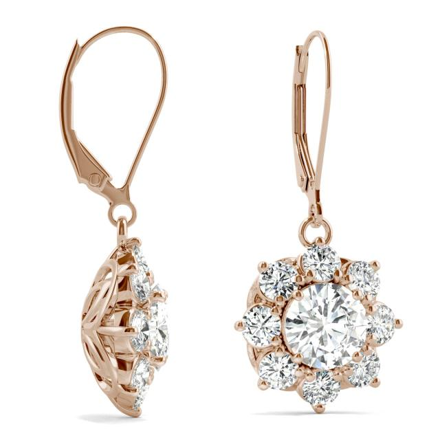 3.71 CTW Round Forever One Moissanite Signature Cluster Halo Earrings in 14K Rose Gold