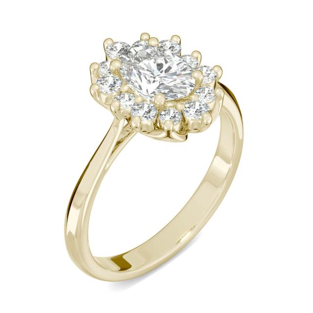 Signature Halo Oval Engagement Ring in 14K Yellow Gold