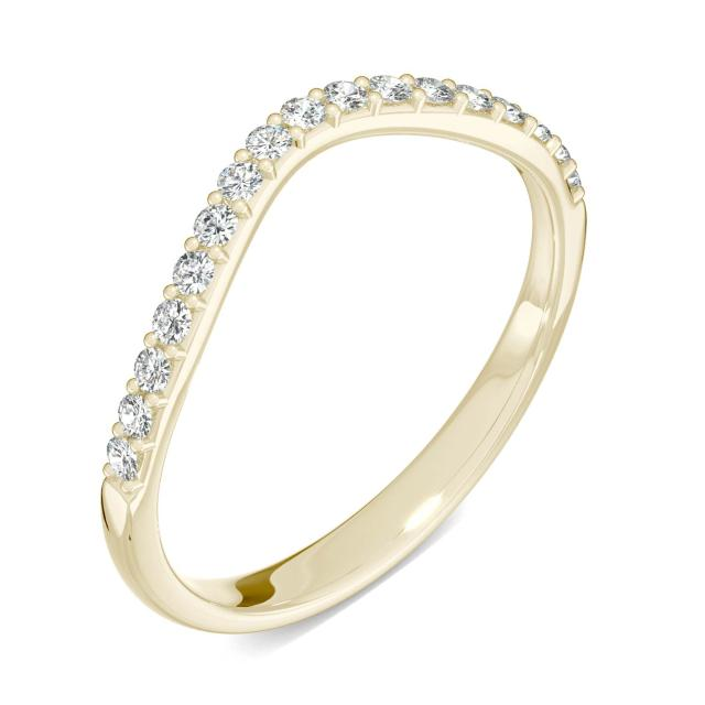 0.22 CTW DEW Round Forever One Moissanite Signature Curved Classic Wedding Ring in 14K Yellow Gold