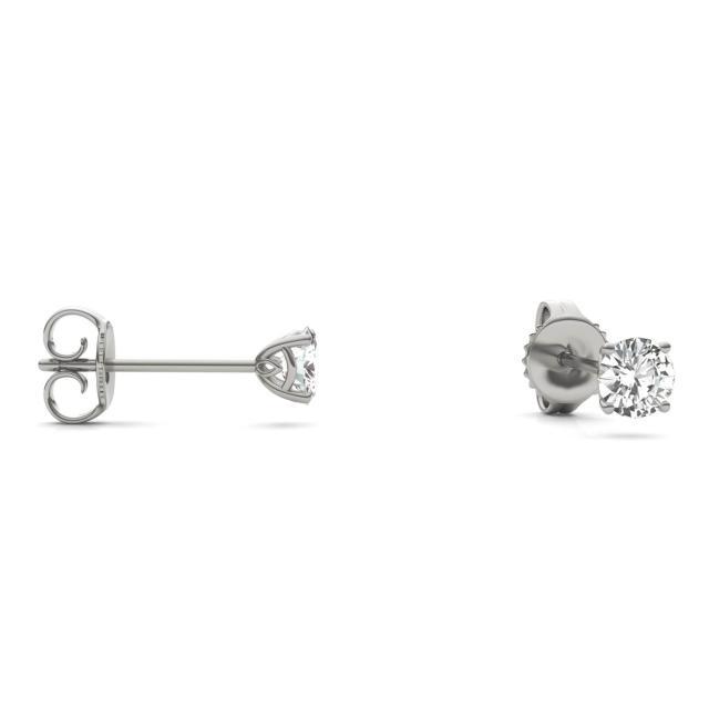 0.51 CTW Round Forever One Moissanite Signature Basket Stud Earrings in 14K White Gold