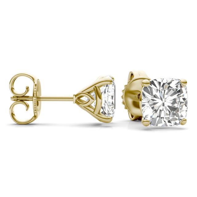 4.57 CTW Cushion Forever One Moissanite Signature Martini Moissanite Stud Earrings in 14K Yellow Gold