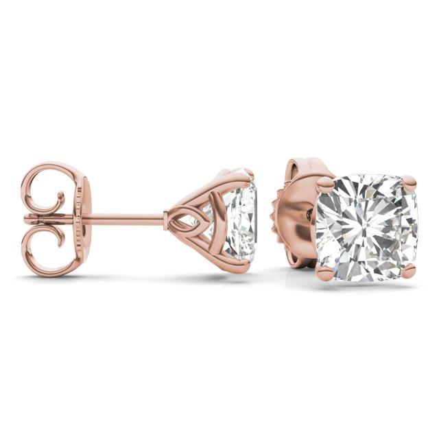 4.57 CTW Cushion Forever One Moissanite Signature Martini Moissanite Stud Earrings in 14K Rose Gold