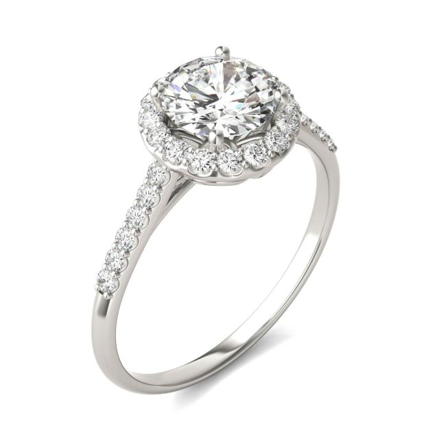 1.33 CTW Round Forever One Moissanite Signature Halo Engagement Ring 14K White Gold