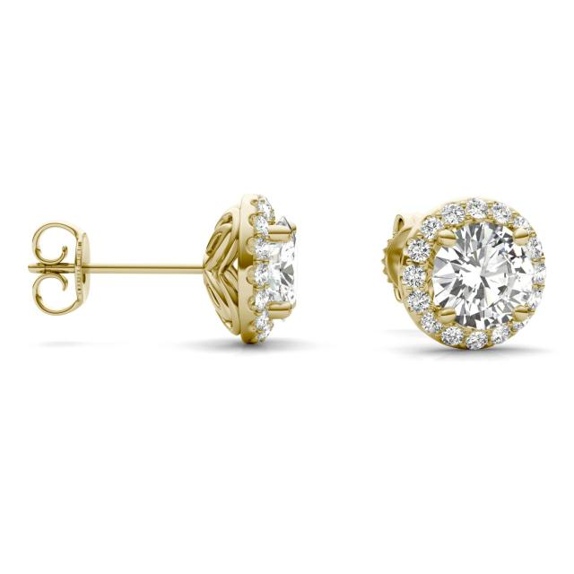 2.40 CTW Round Forever One Moissanite Signature Halo Earrings in 14K Yellow Gold