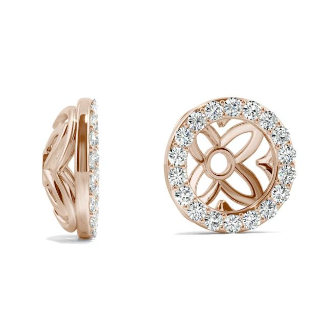 0.36 CTW Round Forever One Moissanite Signature Floret Earring Jackets Earrings in 14K Rose Gold