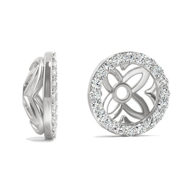 0.40 CTW Round Forever One Moissanite Signature Floret Earring Jackets Earrings in 14K White Gold