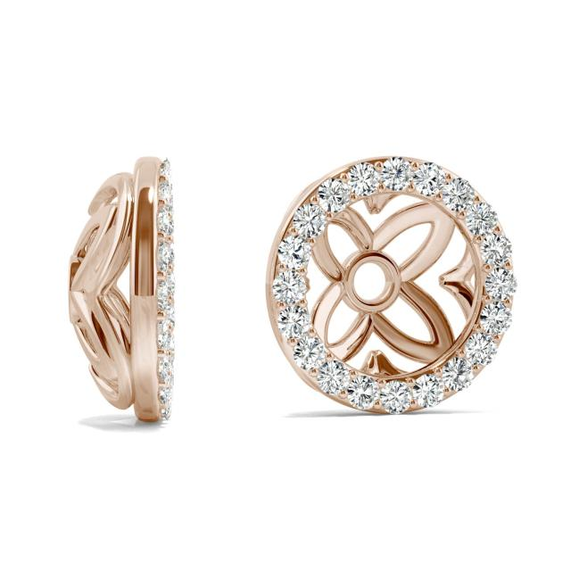 0.40 CTW Round Forever One Moissanite Signature Floret Earring Jackets Earrings in 14K Rose Gold