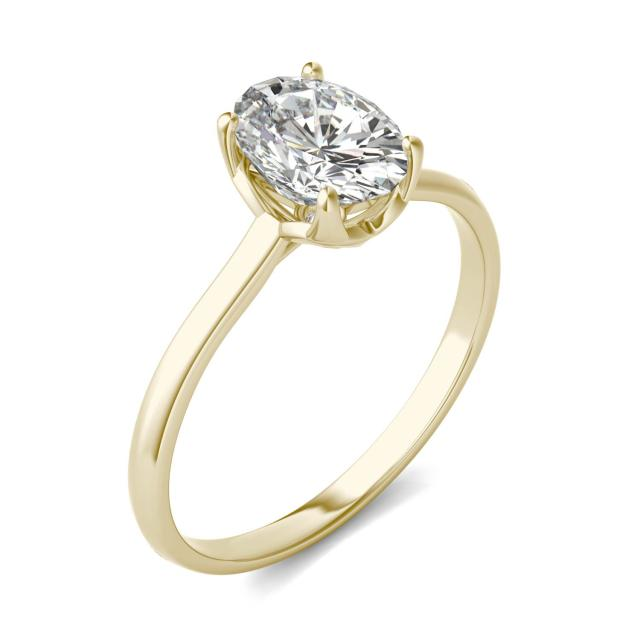 1.51 CTW DEW Oval Forever One Moissanite Signature Solitaire Ring in 14K Yellow Gold