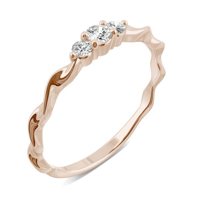 Ribbon Moissanite Trio Stacker Ring in Rose Gold