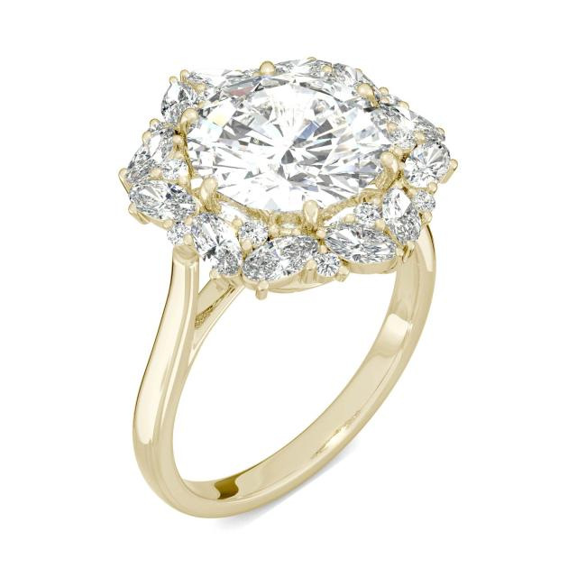 5.11 CTW DEW Round Forever One Moissanite Halo Ring in 14K Yellow Gold