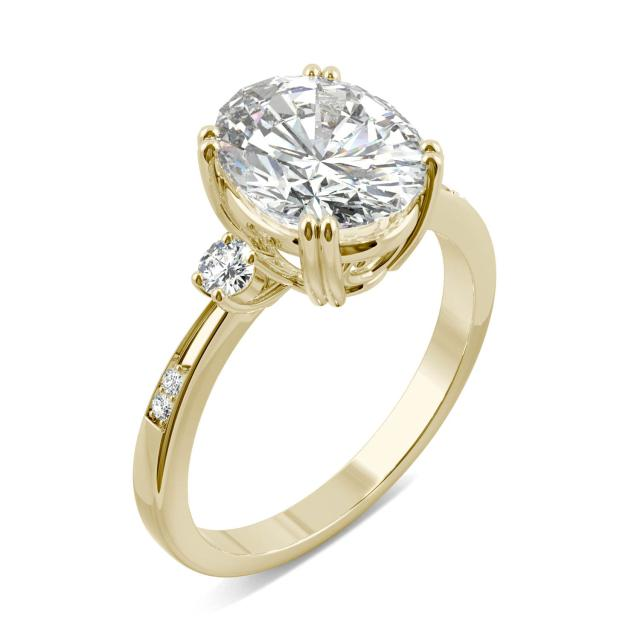 3.14 CTW DEW Oval Forever One Moissanite Solitaire with Side Accents Engagement Ring in 14K Yellow Gold