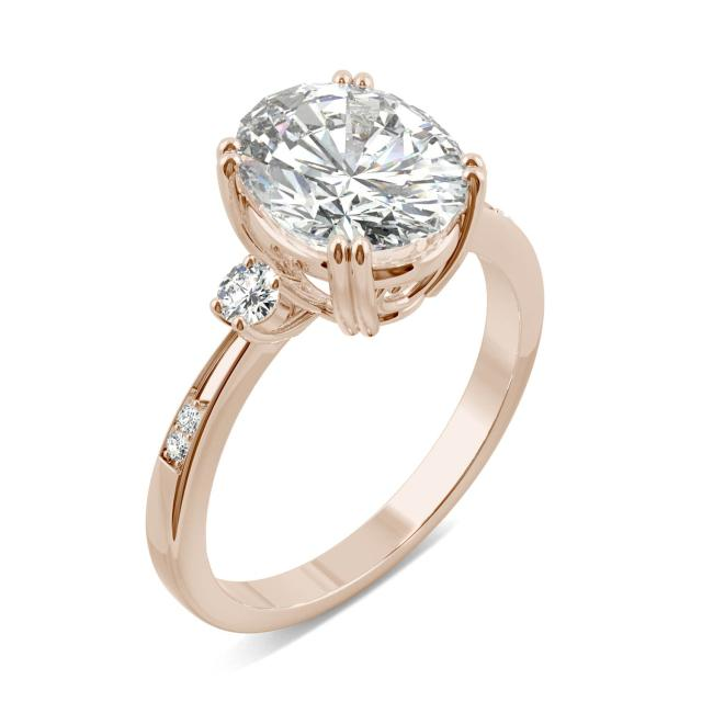 3.14 CTW DEW Oval Forever One Moissanite Solitaire with Side Accents Engagement Ring in 14K Rose Gold
