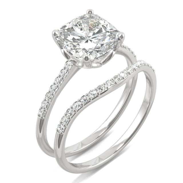 Signature Bridal Set Cushion with Side Stones 2.60CTW in White Gold