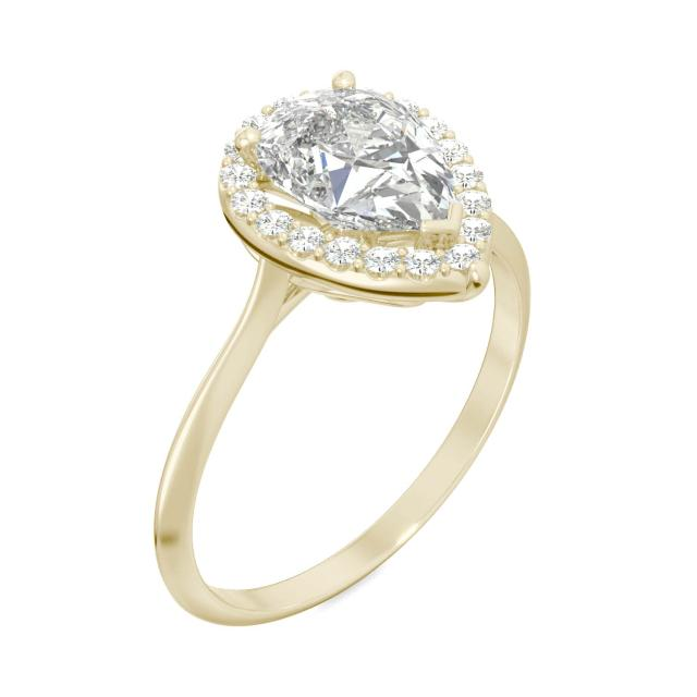 Signature Pear Halo Engagement Ring 1.71CTW in 14K Yellow Gold