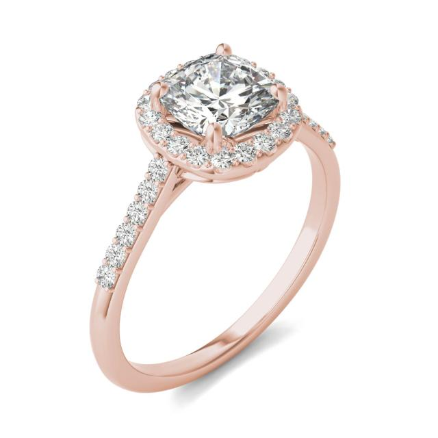 1.60 CTW DEW Cushion Forever One Moissanite Signature Halo with Side Stones Ring in 14K Rose Gold