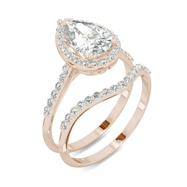 2.00 CTW DEW Pear Forever One Moissanite Signature Halo with Site Stones Bridal Set Ring in 14K Rose Gold