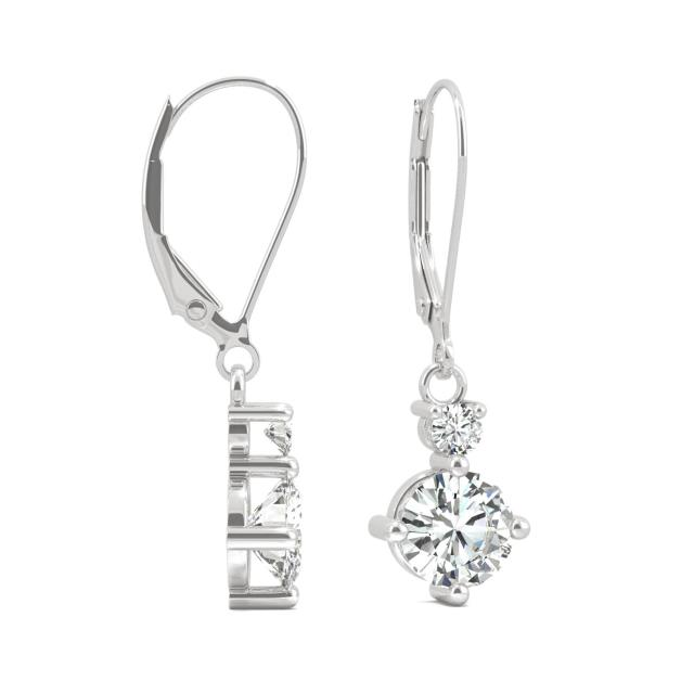 1.72 CTW Round Forever One Moissanite Duo Leverback Drop Earrings in 14K White Gold