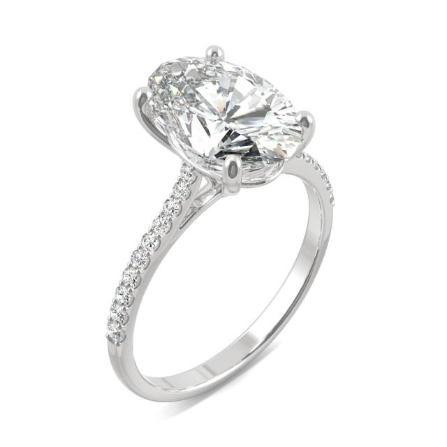 Elongated Oval Side-Stone Engagement Ring Moissanite 4.58CTW in 14K White Gold