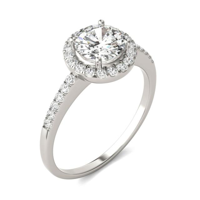 Halo Round Moissanite Engagement Ring 1.30CTW in 14K White Gold
