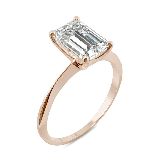 Classic Solitaire Emerald Moissanite Ring 2.52CTW in 14K Rose Gold