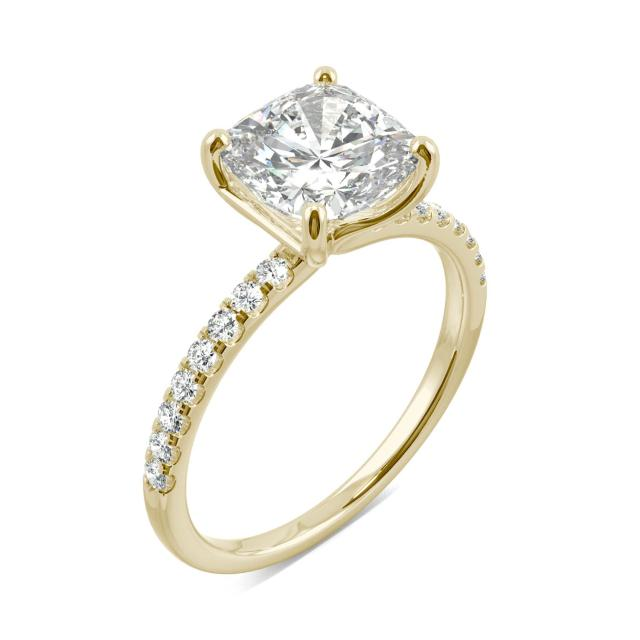 Cushion Side Stone Moissanite Engagement Ring 2.52CTW in 14K Yellow Gold