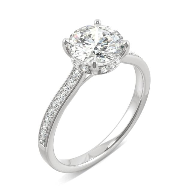 1.84 CTW Forever One Round Moissanite Hidden Halo with Side Accents Engagement Ring in 14K White Gold