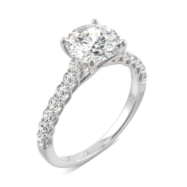 2.02 CTW DEW Round Forever One Moissanite Trellis Engagement Ring in 14K White Gold