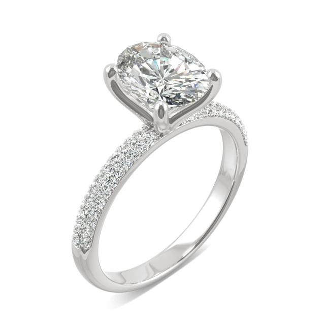 2.45 CTW DEW Oval Forever One Moissanite Micro Pave Ring in 14K White Gold