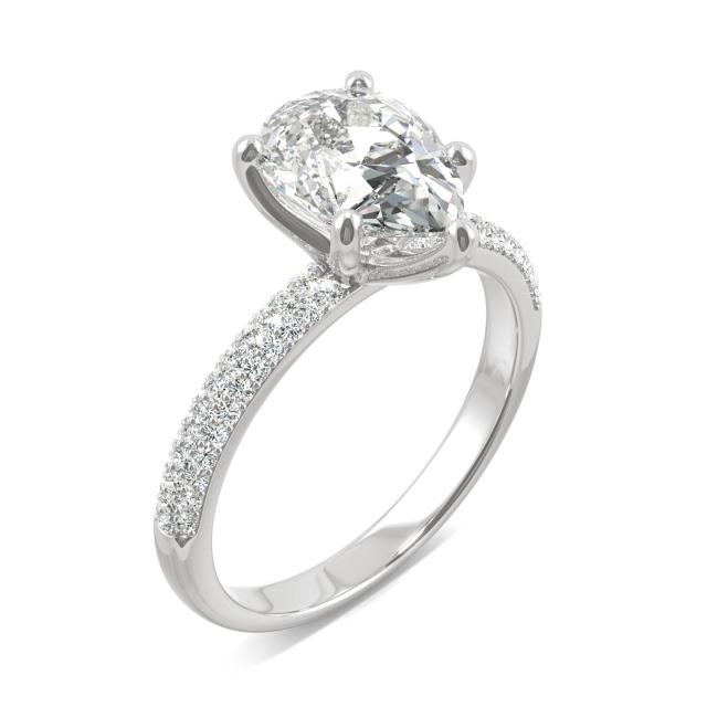 Pear Micro Pave Moissanite Ring in 2.45CTW 14K White Gold