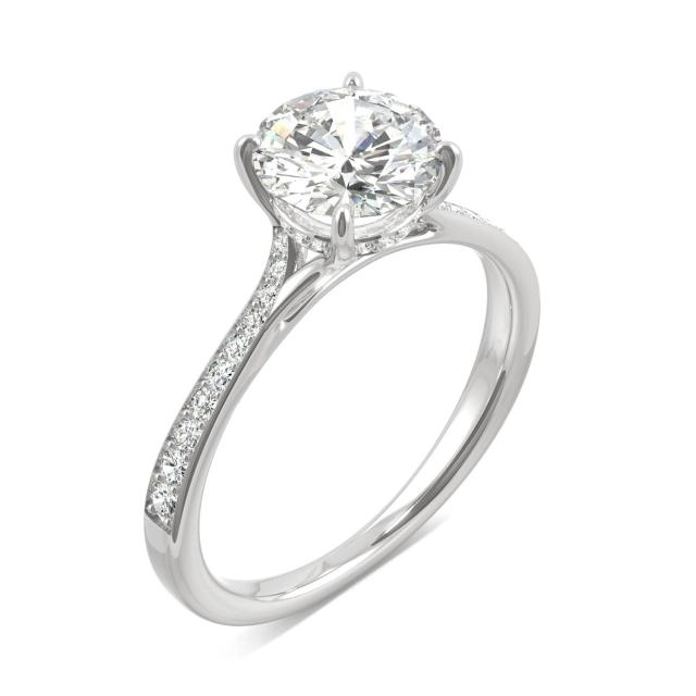 Side-Stone Round Moissanite Ring with Hidden Halo 1.74CTW in 14K White Gold