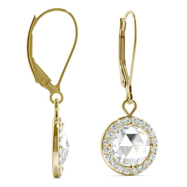 1.52 CTW Round Forever One Moissanite Halo Drop Earrings in 14K Yellow Gold