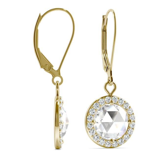 1.78 CTW Round Forever One Moissanite Halo Drop Earrings in 14K Yellow Gold