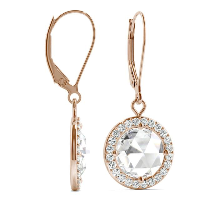 2.78 CTW Round Forever One Moissanite Halo Drop Earrings in 14K Rose Gold