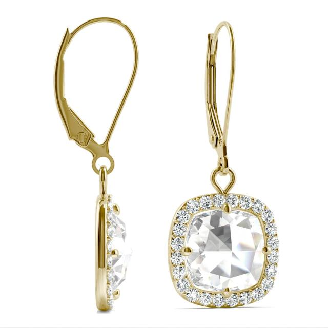 2.98 CTW Cushion Forever One Moissanite Halo Drop Earrings in 14K Yellow Gold