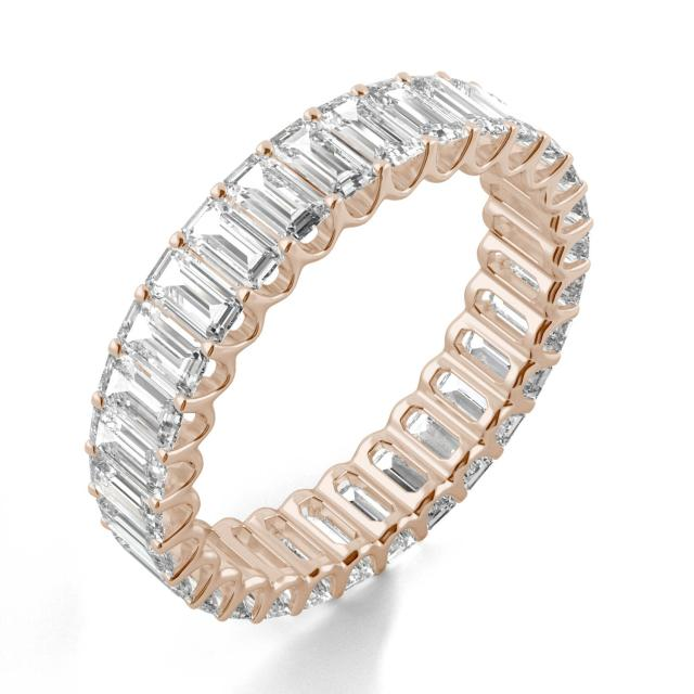2.90 CTW DEW Emerald Forever One Moissanite Eternity Band in 14K Rose Gold