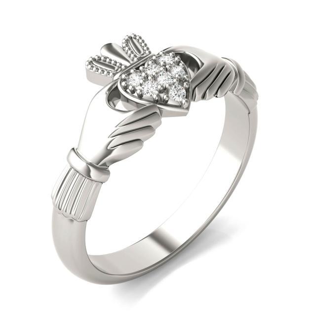 Claddagh Moissanite Ring in 14K White Gold