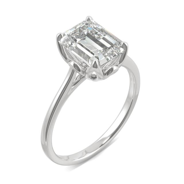 Emerald Tulip Solitaire Engagement Ring 2.52CTW in 14K White Gold