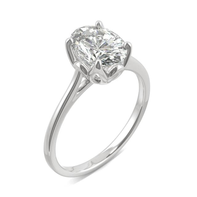 Oval Tulip Solitaire Engagement Ring 2.10CTW in 14K White Gold