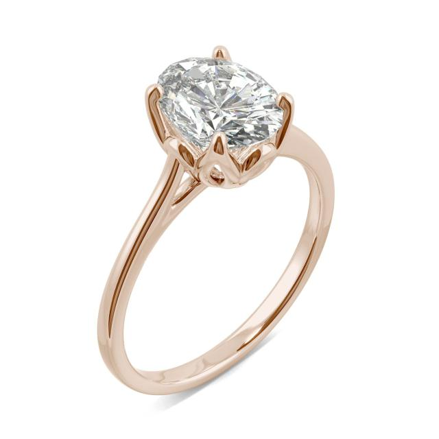 Oval Tulip Solitaire Engagement Ring 2.10CTW in 14K Rose Gold