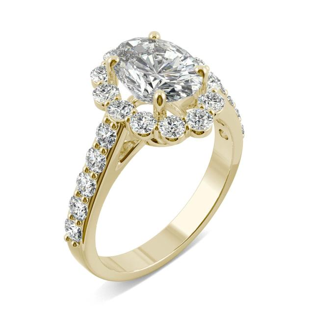 2.60 CTW Oval Forever One Moissanite Cathedral Halo Engagement Ring 14K Yellow Gold