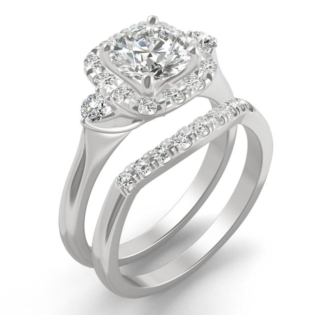 1.67 CTW DEW Round Forever One Moissanite Multi Accent Wedding Set Ring in 14K White Gold