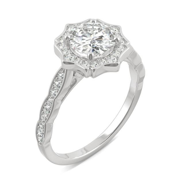 1.28 CTW DEW Round Forever One Moissanite Framed Halo Engagement Ring in 14K White Gold