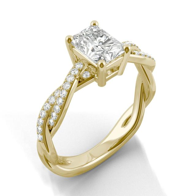 Radiant Twist Side Stone Moissanite Ring 1.30CTW in 14K Yellow Gold