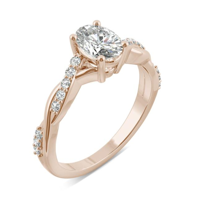 Oval Twist Moissanite Engagement Ring 1.11CTW in Rose Gold