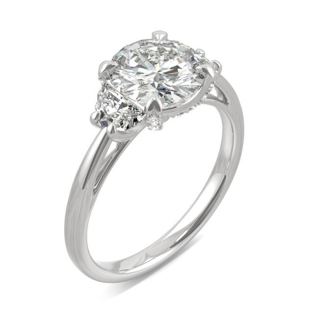 Round & Half Moon Accented Moissanite Engagement Ring 2.56CTW in Platinum