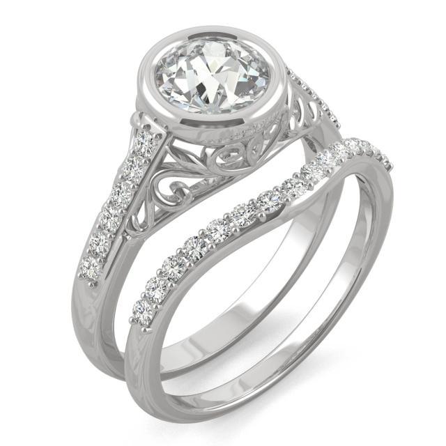 1.51 CTW DEW Round Forever One Moissanite Old European Cut Bezel Filigree Bridal Set Ring in 14K White Gold