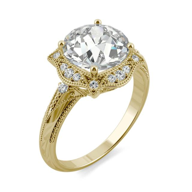 3.05 CTW DEW Round Forever One Moissanite Old European Cut Milgrain Halo Engagement Ring in 14K Yellow Gold