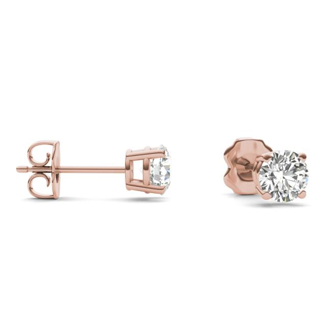 1 CTW Round Caydia Lab Grown Diamond Four Prong Solitaire Stud Earrings 14K Rose Gold