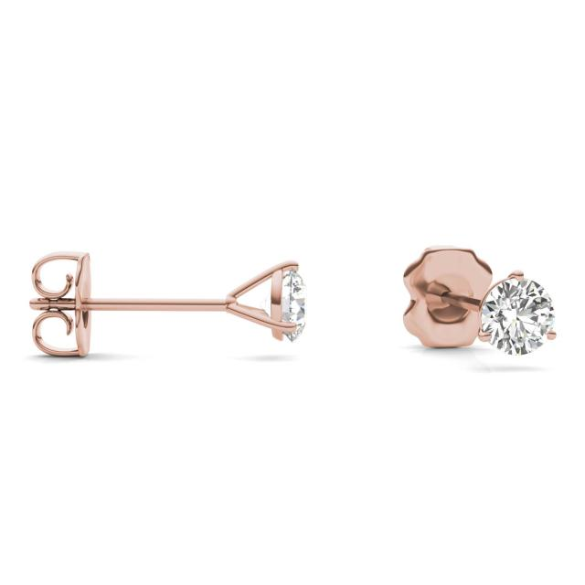 1/2 CTW Round Caydia Lab Grown Diamond Three Prong Martini Solitaire Stud Earrings 14K Rose Gold